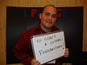 Senior Daniel Cisneros makes a pledge at the Continuums of Service Conference in Portland, OR