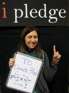 This student made a brave pledge at the Community Service Opportunities Fair on January 23, 2013.