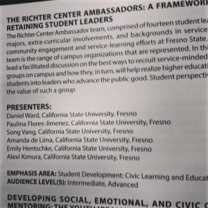 It's official!  The Richter Center Ambassadors' presentation as listed in the conference handbook.