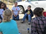 Reflection Facilitator Mikayla leads a discussion following a hearty day of service at the Sierra Foothill Conservancy.
