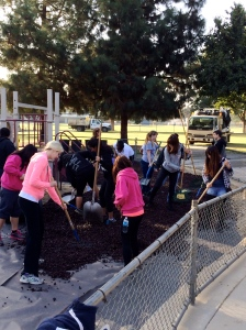 Student volunteers resurface a playground at Homan Park during Make a Difference Day.  The SERVE Committee works closely with community partners, local businesses, and campus organizations to make this event a success!