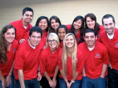 2012-13 Ambassadors (from back left) Miguel Vieira, Song Vang, Amanda de Lima, Paulina Flores Jimenez, Alexi Kimura, Emily Hentschke, (front left) Kayla Lawler, German Marquez, Taylor Daly, Aldi Dodds, Lucca Petrucci, and Daniel Ward.
