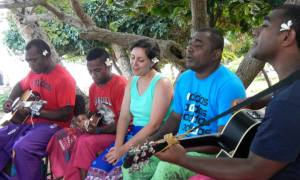 "Singing ""Fiji"" with the band, Drodrolagi kei nautosolo. Photo credit: Chris Fiorentino"
