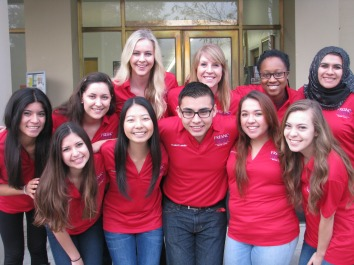 2014-15 Richter Center Ambassadors (back left) Jazmin De La Torre, Lilliana Toste, Heather Goossen, Ludie Olenchalk, Shola Aleru, Nancy Mohamed, (front left) Amanda de Lima, Nicole Shinkawa, Juan Alejandre, Evelyn Gonzalez, Alex Gallo