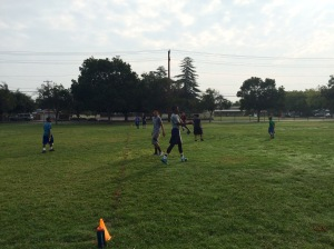Our boys at Ericson Elementary engaging in an intense game of flag football.