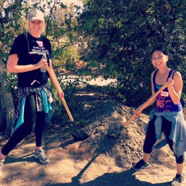 Me and Ambassador Alumna Heather Goossen (left) having fun planting trees on Make a Difference Day.